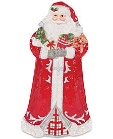 Fitz and Floyd Tartan Christmas Elongated Santa Tray