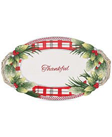 Fitz and Floyd Tartan Christmas Thankful Bread Tray