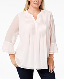 Plus Size Double Ruffle Solid Pintuck Top, Created for Macy's