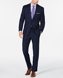 Club Room Men's Classic/Regular Fit Stretch Navy Check Suit, Created for Macy's