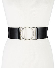 Calvin Klein Geo-Buckle Leather Stretch Belt