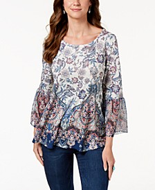 Printed Flare-Sleeve Blouse, Created for Macy's