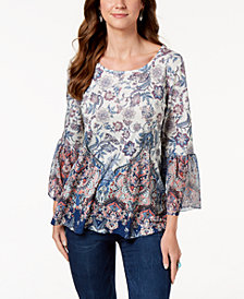 Style & Co Printed Flare-Sleeve Blouse, Created for Macy's