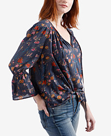 Lucky Brand Printed Bell-Sleeve Blouse