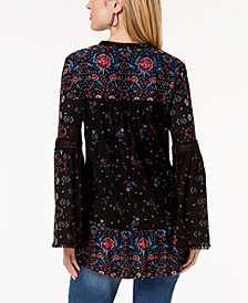 Style & Co. Printed Bell-Sleeve Tunic Top, Created for Macy's