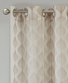 "Madison Park Nadal 50"" x 84"" Leaf Embroidered Grommet Sheer Window Curtain"