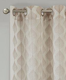 "Madison Park Nadal 50"" x 95"" Leaf Embroidered Grommet Sheer Window Curtain"