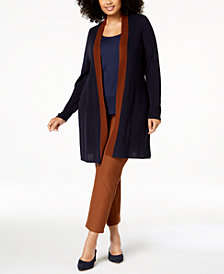 Eileen Fisher Plus Size Long Colorblocked Cardigan