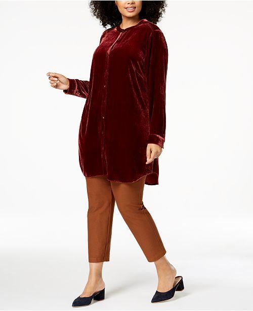 d7f5b231df45d Eileen Fisher Velvet Plus Size Mandarin-Collar Shirt   Reviews - Tops ...
