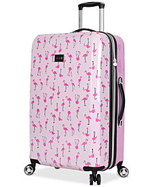 "Betsey Johnson Flamingo Strut 26"" Hardside Spinner Suitcase"