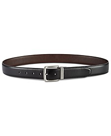Men's Casual Feather-Edge Reversible Leather Belt
