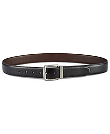 Perry Ellis Men's Casual Feather-Edge Reversible Leather Belt