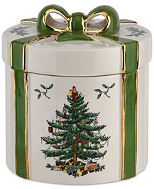 Spode Christmas Tree Figural Gift Box - Green