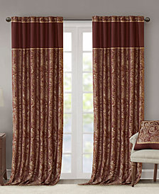 "Madison Park Aubrey 50"" x 108"" Paisley Jacquard Faux-Silk Rod Pocket/Back Tab Curtain Panel Pair"