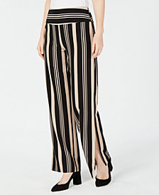 I.N.C. Striped Grommet Lace-Up Slit Wide-Leg Pants, Created for Macy's