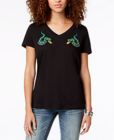 Carbon Copy Embroidered Snakes T-Shirt