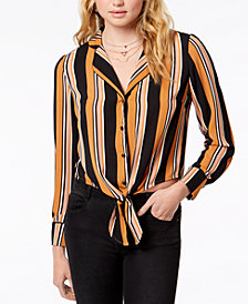 Gypsies & Moondust Juniors' Striped Tie-Waist Blouse