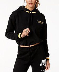 Juicy Couture  Cropped Striped-Trim Hoodie