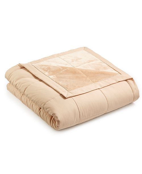 Martha Stewart Collection  CLOSEOUT! Down Alternative Reverse to Plush Blanket Collection, Created for Macy's