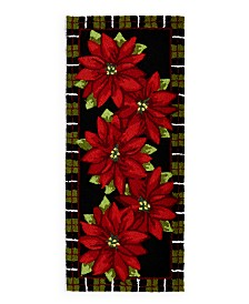 """Martha Stewart Collection Poinsettia 52"""" x 22"""" Runner Accent Rug, Created for Macy's"""