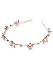 I.N.C. Rose Gold-Tone Crystal & Imitation Pearl Flower Headband, Created for Macy's