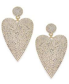 Gold-Tone Pavé Heart Drop Earrings, Created for Macy's