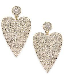Thalia Sodi Gold-Tone Pavé Heart Drop Earrings, Created for Macy's