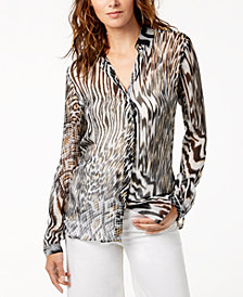 Just Cavalli Printed Silk Sheer Blouse