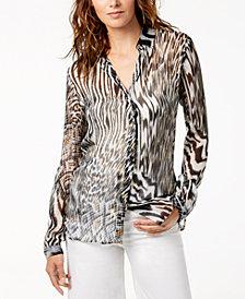 Just Cavalli Printed Silk Sheer Blouse