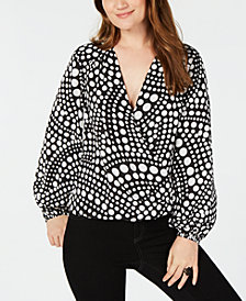 I.N.C. Printed Surplice Blouson Top, Created for Macy's