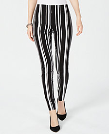 I.N.C. Pull-On Striped Skinny Pants, Created for Macy's