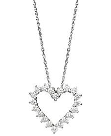 Arabella 14k White Gold Necklace, Swarovski Zirconia Heart Pendant (1 ct. t.w.)