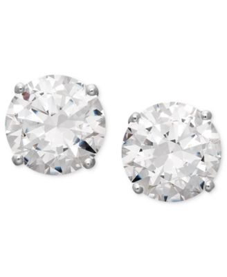 14k White Gold Earrings, Swarovski Zirconia Round Stud Earrings (3-1/2 ct. t.w.)
