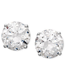 Arabella 14k White Gold Earrings Swarovski Zirconia Round Stud 3 1