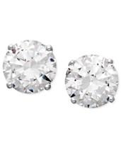 3808dd893 Arabella 14k White Gold Earrings, Swarovski Zirconia Round Stud Earrings  (3-1/