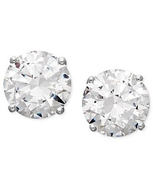 Arabella 14k White Gold Earrings, Swarovski Zirconia Round Stud Earrings (3-1/2 ct. t.w.)