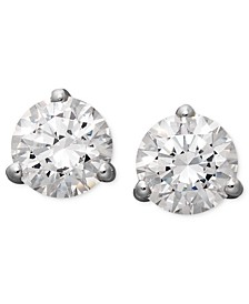 14k White Gold Earrings, Swarovski Zirconia Round Stud Earrings (4-1/4 ct. t.w.)