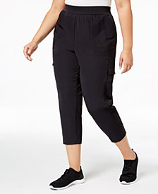 Ideology Plus Size Cropped Woven Cargo Pants, Created for Macy's