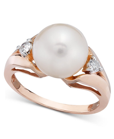 Cultured Freshwater Pearl (9-1/2mm) and Diamond (1/8 ct. t.w.) Ring in 14k Rose Gold