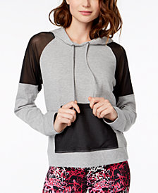 Material Girl Mesh-Inset Pullover Hoodie, Created for Macy's