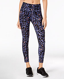 Calvin Klein Performance Cheetah-Print Mesh-Inset Compression Ankle Leggings