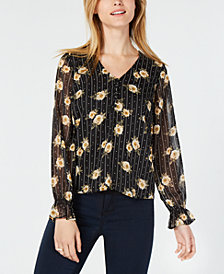 Maison Jules Floral-Print Sheer-Sleeve Blouse, Created for Macy's
