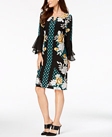 JM Collection Petite Printed Tulip-Sleeve Dress, Created for Macy's