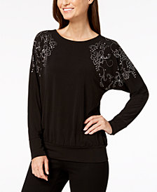 JM Collection Embellished Dolman Top