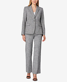 Tahari ASL Textured Blazer & Straight-Leg Pants