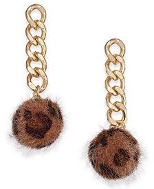 I.N.C. Gold-Tone Chain & Faux Fur Ball Drop Earrings, Created for Macy's