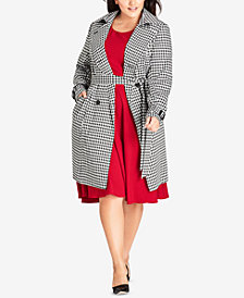 City Chic Trendy Plus Size Sherlock Houndstooth-Print Belted Trench Coat
