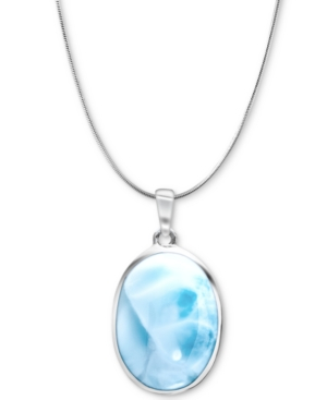 """Larimar 21"""" Pendant Necklace in Sterling Silver"""