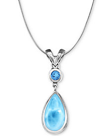 """Marahlago Larimar & Blue Topaz (3/8 ct. t.w.) 21"""" Pendant Necklace in Sterling Silver"""