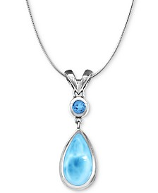"Marahlago Larimar & Blue Topaz (3/8 ct. t.w.) 21"" Pendant Necklace in Sterling Silver"